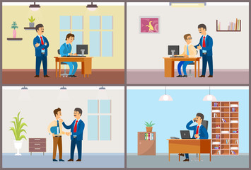 Work in Office Daily Routine, Boss and Employee
