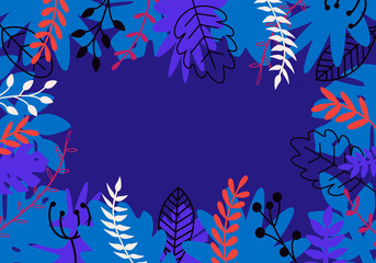 Vector natural horizontal background in trendy flat style with multicolored exotic plants, leaves and place for text. Modern botanical illustration for banner, greeting card, poster.