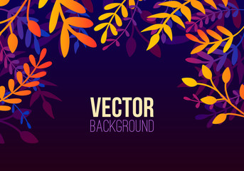 Vector natural horizontal background in trendy flat style with gradient colored exotic plants, leaves and place for text. Modern botanical illustration for banner, greeting card, poster.