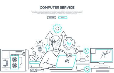 Computer service - modern line design style banner