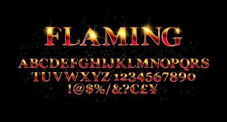 Vector of abstract flaming font a