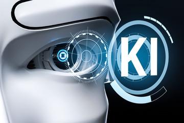 Obraz 3D Illustration Roboter Auge KI - fototapety do salonu