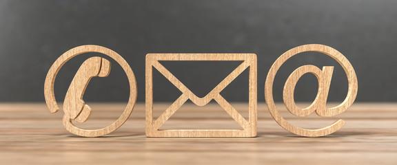 3D Illustration Kontakt Symbole aus Holz