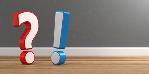 3D Illustration Frage und Antwort Holzboden