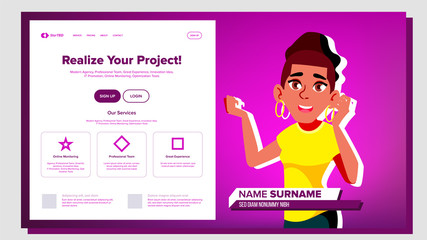 Self Presentation Vector. African American Female. Introduce Yourself Or Your Project, Business. Illustration