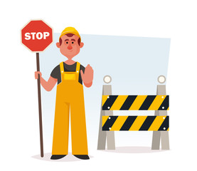 Funny Builder Holding Stop Sign. Cartoon Style. Vector Illustration