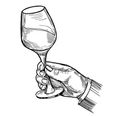 Hand with a glass of wine. Engraving style. Hand drawn illustration converted into vector.