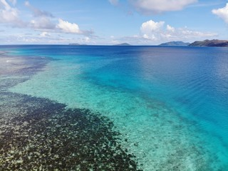 Aerial of coral reef and island