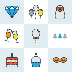 Happy icons colored line set with festive mask, helium, forest and other christmas trees  elements. Isolated vector illustration happy icons.
