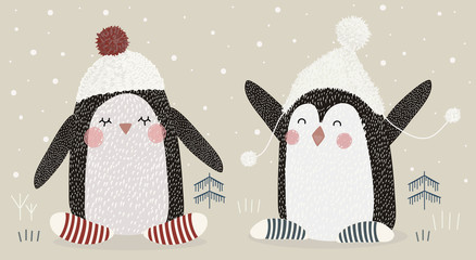 Hand drawing cute vector illustration of two happy penguins wearing hat with pompom in the winter time. Graphic elements for kids. Childish penguin for nursery, baby. Greeting card, poster, postcard.