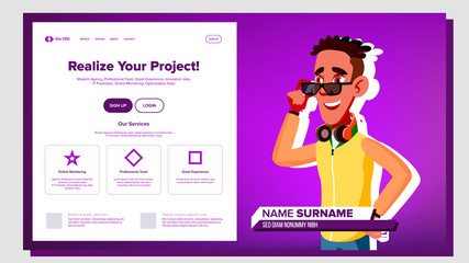 Self Presentation Vector. African American Male. Introduce Yourself Or Your Project, Business. Illustration