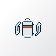 Baggage insurance icon colored line symbol. Premium quality isolated protect luggage element in trendy style.