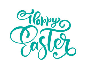 Vector happy Easter Hand drawn calligraphy and brush pen isolated lettering. design for holiday greeting card and invitation of the happy Easter day