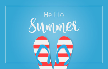 Hello Summer text with colorful sandals on blue background