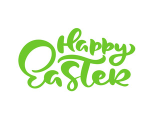 Green Happy Easter handwritten lettering text. Happy Easter typography design for greeting cards and poster. Design template celebration. Vector illustration