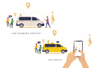 Taxi online vector illustration advertising poster of isometric car. Taxi service design of yellow car,Car sharing service advertising w. A man with a smartphone standing near the car. Modern landing