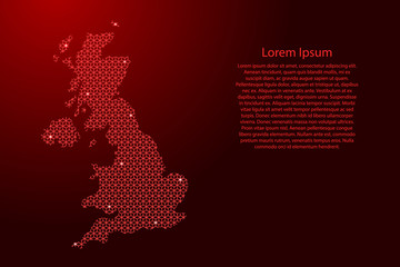 United Kingdom map Great Britain abstract schematic from red lines repeating pattern geometric background with rhombus and nodes with space stars for banner, greeting card. Vector illustration.