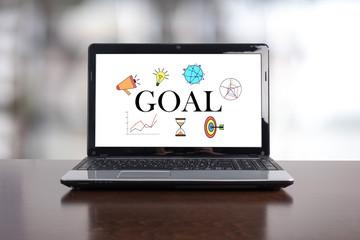 Goal concept on a laptop