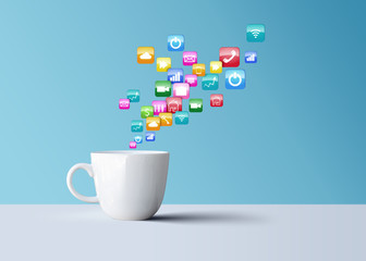 white coffee mug with mobile phone icons, technology