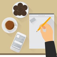 work desk illustration with coffee, biscuits, snacks, smartphones, sketchbooks, pencils. can be used as your design element.