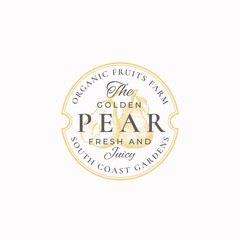 Golden Pear Farm Badge or Logo Template. Hand Drawn Pears with Leaf Sketch with Retro Typography and Borders. Vintage Premium Emblem.