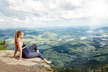 Girl enjoying view of awesome landscape