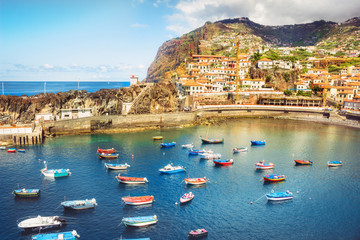 Spoed Fotobehang Europese Plekken Colorful fishing boats in Camara de Lobos port. Madeira island, Portugal