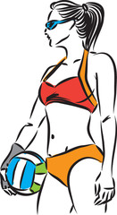 volley beach woman player vector illustration