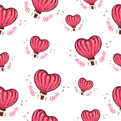 Seamless pattern with hot air balloon, heart vector background. Love. Perfect for wallpaper, pattern fill, web page background, surface textures, textile, Valentine's Day. Hand drawing, pink white