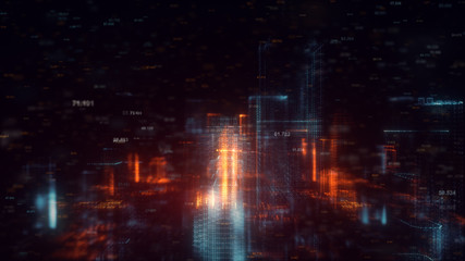 3d rendered abstract futuristic night city concept. Transparent business skyscrapers made of bright particles. Hologram buildings. Interface elements. Architectural digital technology structure