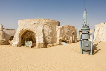 NAFTAH, TUNISIA - JULY 23, 2018: Old Star Wars set building in the Sahara desert near Naftah, Tunisia