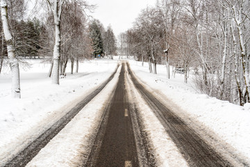 Rural road in winter time