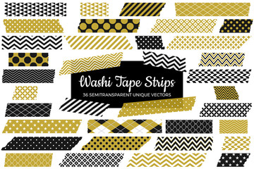 Gold, Black and White Washi Tape Strips with Torn Edges & Different Patterns. 36 Unique Semitransparent Vectors. Photo Sticker, Print / Web Layout Element, Clip Art, Embellishment