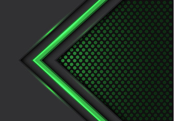 Abstract green light arrow direction on dark with circle mesh pattern design modern futuristic background vector illustration. Wall mural