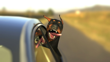 Doberman dog enjoying car ride head out of window with funny expression 3d illustration