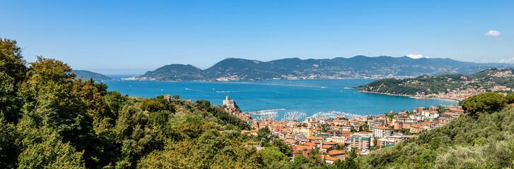 Lerici town and Gulf of La Spezia Liguria Italy