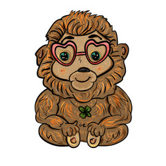 Romantic monkey with decoration of four-leaf clover and glasses for Valentine's Day. Vector illustration. - Vector