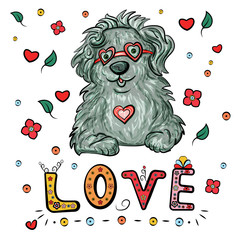 Romantic bobtail dog with heart and glasses, and lettering text Love for Valentine's Day. Vector illustration. - Vector