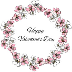 Vector floral wreath of pink and white colors for St. Valentine's Day greetings