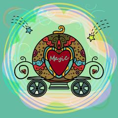 Cartoon Cinderella Orange Pumpkin carriage. Princess Fantasy Carriage. Wedding retro carriage with curls. Vector illustration. - Vector
