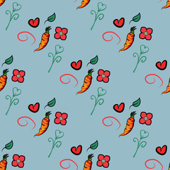 Seamless pattern with carrots and cute orange, heart and flower on blue background. It can be used for packaging, wrapping paper, textile and etc. Vector background. - Vector