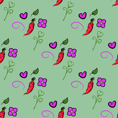Seamless pattern with carrots and cute orange, heart and flower on green background. It can be used for packaging, wrapping paper, textile and etc. Vector background. - Vector