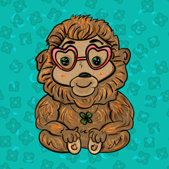 Monkey bringing good luck. Valentine's Day. Feast of Love. Vector illustration. - Vector
