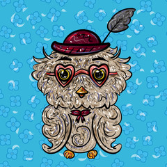 Owl in a hat with a feather and glasses with hearts. Valentine's Day. Feast of Love. Vector illustration. - Vector