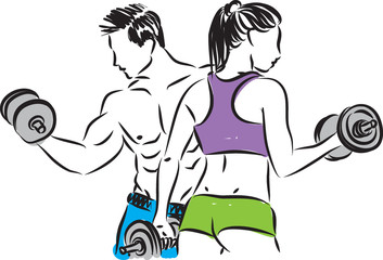 fitness 2 couple man and woman vector illustration