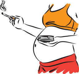pregnant woman smoking 2 concept vector illustration