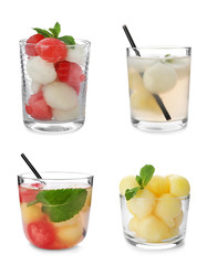 Set of cocktails with melon and watermelon balls on white background