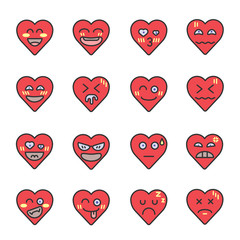 heart face emoji vector icon set on Valentine's day