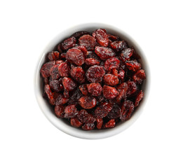 Bowl with cranberries on white background, top view. Dried fruit as healthy snack