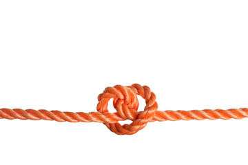Color rope with knot on white background